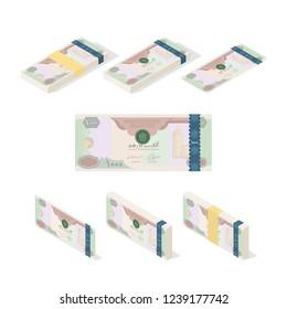 UAE Dirham money paper, currency Banknote, Vector Illustration
