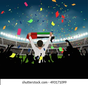 UAE fan stand up and hand flag among silhouette group to celebrate the team won in the soccer match on the stadium background, with confetti in the night time, design for template in vector format