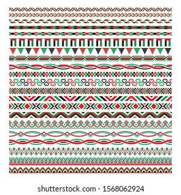 UAE Flag Colour Border frame, Pattern Brush Collection, Vector Illustration