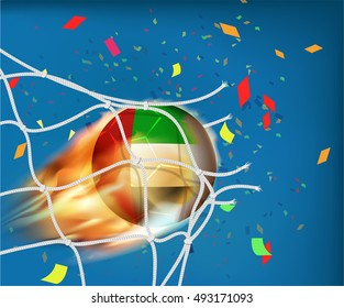 UAE flag on football in fire ball design goes through the net with confetti in concept of goal celebration ,vector format EPS10