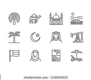 UAE flat line icons. Arab emirates flag, dubai , islam mosque, desert offroad car, muslim people, camel, oil vector illustrations.