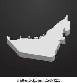 uae map in gray on a black background 3d