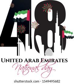 UAE national day illustration banner with UAE national flag. Inscription in Arabic Spirit of the union, National day 48, United Arab Emirates. Anniversary Celebration Card 2 December. UAE 48 Independe