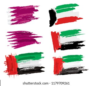 UAE, QATR, KUWAIT, sketchy Flags (Vector Art)