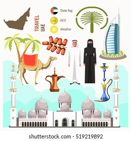 UAE travel concept map. Flat Icons Design. Vector Illustration