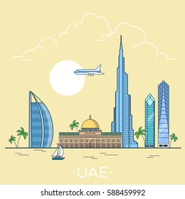 UAE United Arab Emirates country design template. Linear Flat famous historic sight; cartoon style web site vector illustration. World travel and showplace in Asia, Asian vacation collection