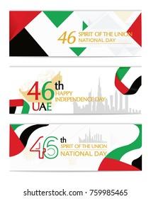 UAE United Arab Emirates independence day, national awakening day, and spirit of the union, United Arab Emirates with flag background red white black green landscape