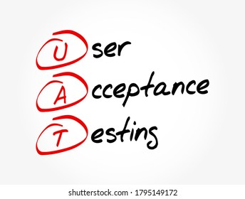 UAT - User Acceptance Testing acronym, technology concept background
