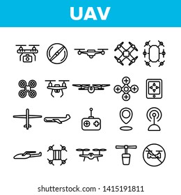 UAV, Remote Control Drones Vector Linear Icons Set. UAV, Unmanned Aircraft System Outline Symbols Pack. High Tech, GPS Navigation. Modern Delivery Service Technology Isolated Contour Illustrations