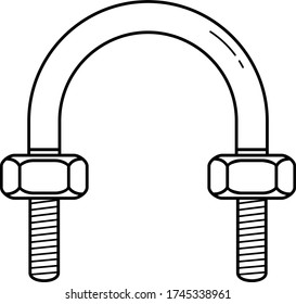 U-bolts сlamp. Vector outline icon.