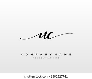 UC handwriting initial  logo vector