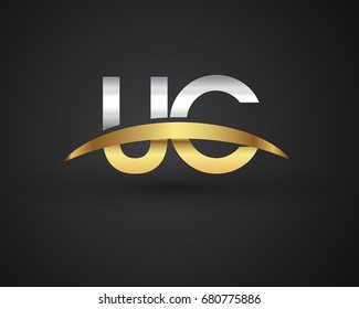 UC initial logo company name colored gold and silver swoosh design. vector logo for business and company identity.