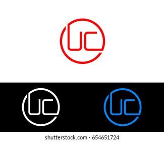 Uc Logo. Letter Design Vector with Red and Black Gold Silver Colors
