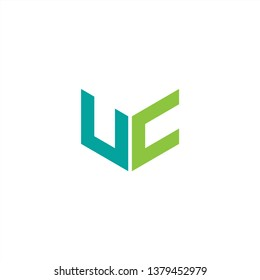 UC Logo Letter Initial With Blue and Green Colors
