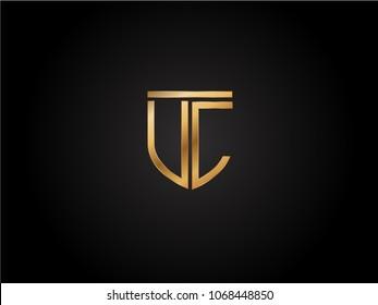 UC shield shape Letter Design in gold color