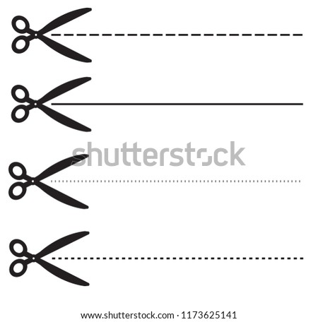 Ucher Coupon Dashed Lines Set Scissors Stock Vector Royalty Free