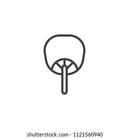 Uchiwa fan outline icon. linear style sign for mobile concept and web design. Traditional Japanese Fan simple line vector icon. Symbol, logo illustration. Pixel perfect vector graphics