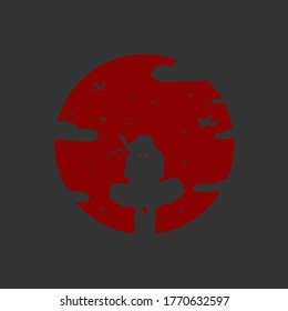 Uciha Itachi vector design with blood moon and faded black background