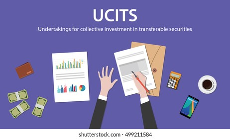 ucit  undertakings for collective investment in transferable securities concept with businessman work on paper document with graph chart money and wallet