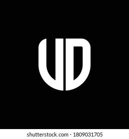 ud logo monogram with circular shape shield design template