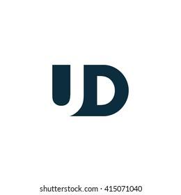 UD Logo. Vector Graphic Branding Letter Element. White Background