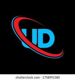 UD U D letter logo design. Initial letter UD linked circle uppercase monogram logo red and blue. UD logo, U D design. ud, u d