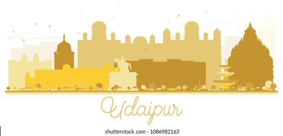Udaipur India City skyline Golden silhouette. Vector illustration. Simple flat concept for tourism presentation, banner, placard or web site. Udaipur Cityscape with landmarks.