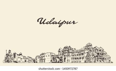 Udaipur skyline, Rajasthan, India, hand drawn vector illustration, sketch