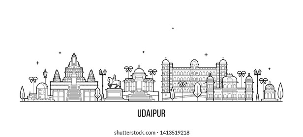 Udaipur skyline, Rajasthan, India. This illustration represents the city with its most notable buildings. Vector is fully editable, every object is holistic and movable