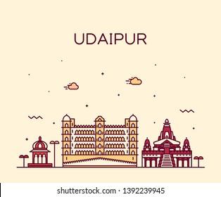 Udaipur skyline, Rajasthan, India. Trendy vector illustration, linear style