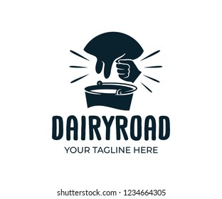 Udder and man milking a cow with bucket of milk, retro and vintage style, logo design. Farm, farming, agriculture, agricultural, cattle and dairy products, vector design and illustration