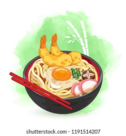 Udon bowl on bamboo watercolor background. Toppings include eggs, mushroom, scallion, shrimp tempura and naruto fish cake.