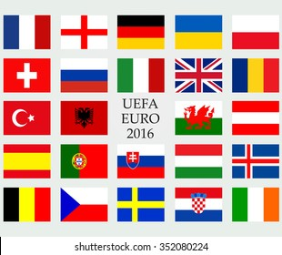 UEFA EURO 2016 member countries vector flags. The flags of members of European championship 2016.