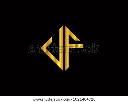 Uf Square Shape Gold Color Logo Stock Vector Royalty Free