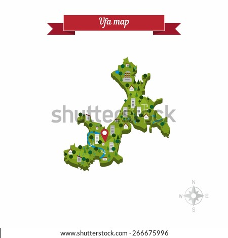 Ufa Russia Map Flat Style Design Stock Vector Royalty Free