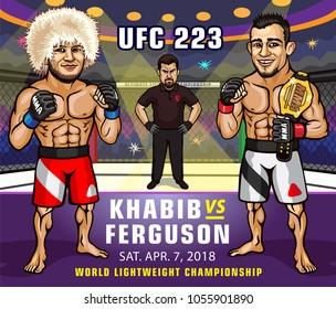 UFC 223. Khabib Nurmagomedov versus Tony Ferguson. Lightweight Championship