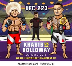 UFC 223. Khabib Nurmagomedov versus  Max Holloway. Lightweight Championship