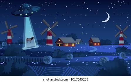 UFO abducting a cow, summer night farm landscape background, red barn and mill in the night field with haystacks, vector background with stars and crescent moon in the sky.