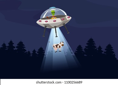 UFO abducting a cow, summer night forest landscape, vector background with stars and moon in the sky.
