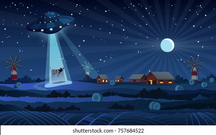 UFO abducting a cow, summer night farm landscape, red barn and mill in the night field with haystacks, vector background with stars and crescent moon in the sky.