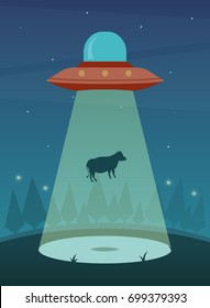 UFO Abducting a Cow. Vector Illustration