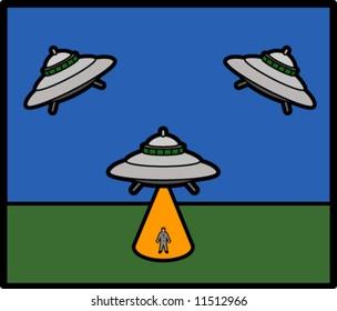 UFO Abducting Man