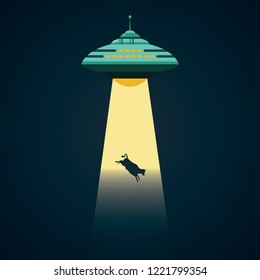 UFO abducts a cow cartoon vector illustration