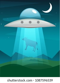 UFO abducts cow. Illustration of alien invasion in field spaceship with light. Vector illustration