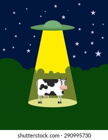 UFO abducts a cow. Space aliens and cattle. Flying saucer beam picks up animal from farm. Vector illustration