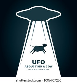 UFO abducts cow  Vector illustration. Flat design.