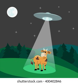UFO abducts cow.Flying saucer beam picks up animal from earth planet. Illustration of alien invasion in unidentified spaceship with light. Idea for design on theme of ufo landing. Vector illustration