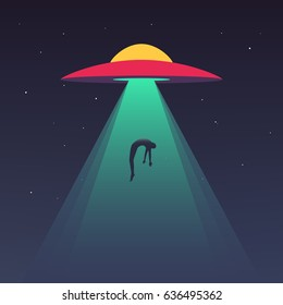 UFO abducts human. Space ship UFO ray of light in the night sky. Vector illustration in flat style