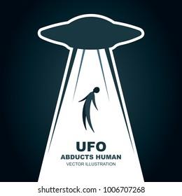 UFO abducts human.  Vector illustration. Flat design.