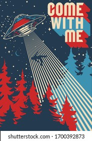UFO abducts man colorful poster in vintage style vector illustration